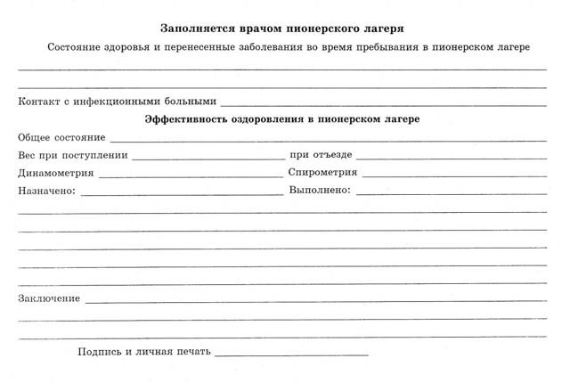 Справка для лагеря 079/У 2020 - 2021: срок действия и где взять